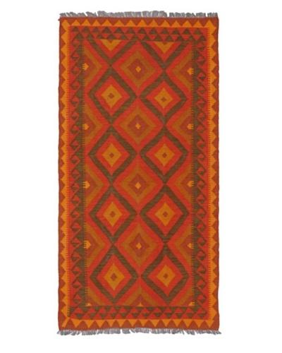 Hand woven Anatolian Kilim Traditional Runner Wool Kilim, Red, 3' 3 x 6' 6 Runner