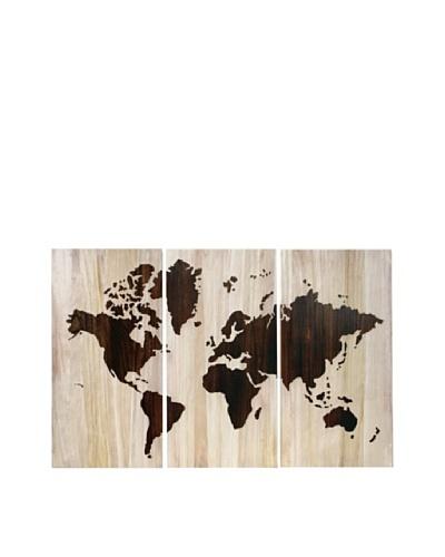 Set of 3 World Map Wall Décor