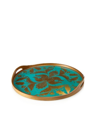 Reverse-Painted Glass Round Tray, Turquoise
