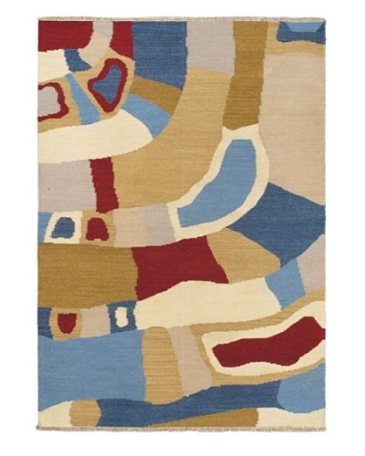 Hand Woven Ankara Flatweave Kilim, Khaki, 4' 6 x 6' 7