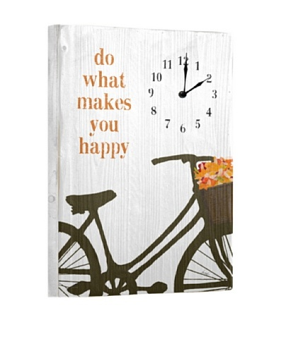 Do What Makes You Happy Reclaimed Wood Clock