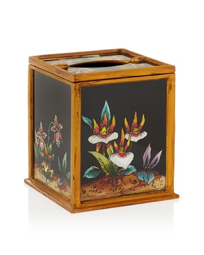 Reverse-Painted Glass Tissue Holder, Black/Orchid