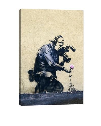 Banksy Camera Man & Flower Canvas Print