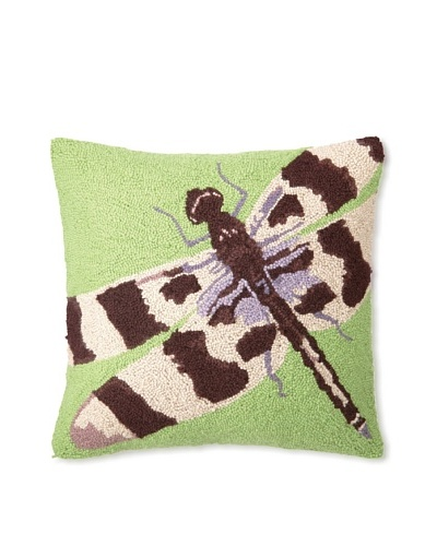 Hook Pillow, Green Dragonfly, 18 x 18