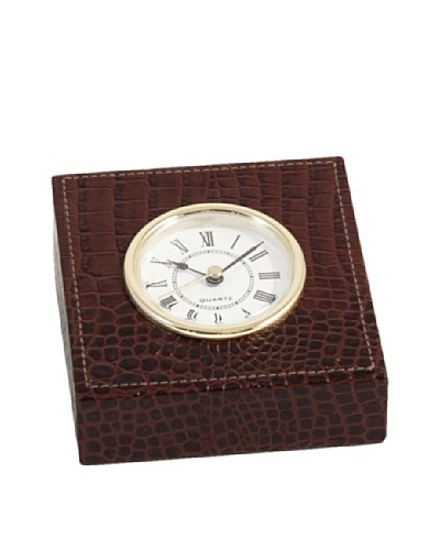 Croc-Embossed Leather Quartz Clock with Gold-Plated Accents