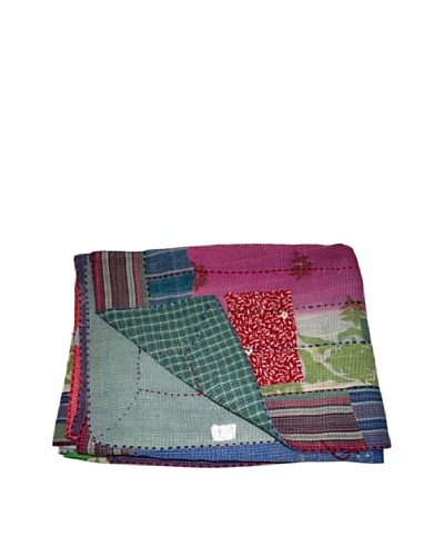 Vintage Lalima Kantha Throw, Multi, 60 x 90