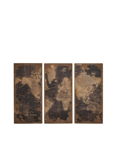 Set of 3 Wooden Wall Map Panels, Black
