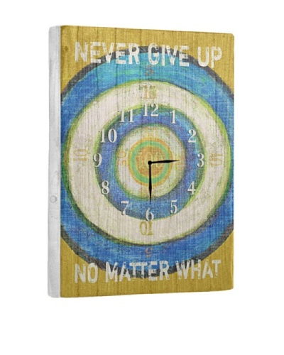 Never Give Up Reclaimed Wood Clock, Blue