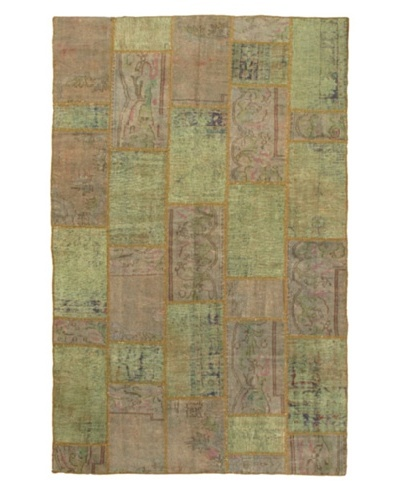 Handmade Ottoman Yama Patchwork Wool Rug, Light Aqua, 7' x 11'