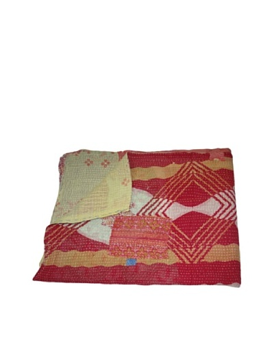 Large Vintage Preeti Kantha Throw, Multi, 60 x 90