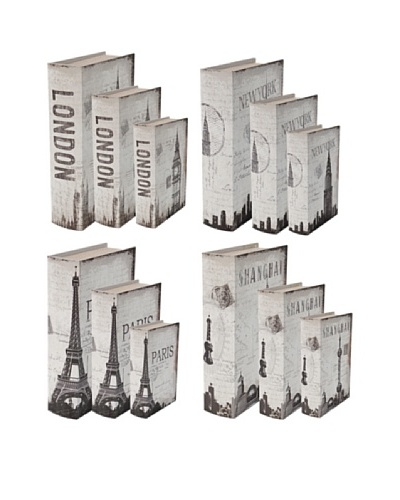 Set of 12 World Travel Decorative Book Boxes