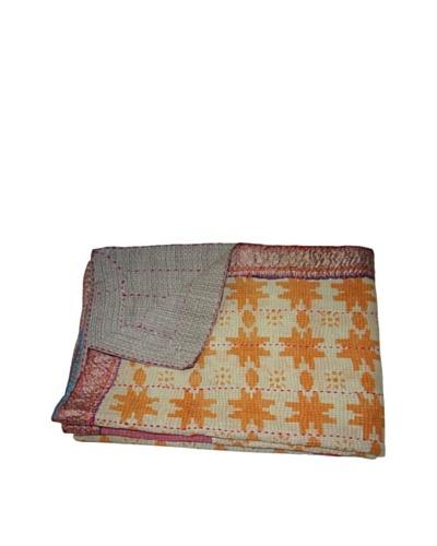 Large Vintage Navneet Kantha Throw, Multi, 60 x 90