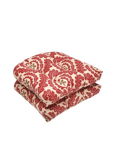 Waverly Sun-n-Shade Set of 2 Meridian Henna Wicker Seat Cushion [Red/Brown/Tan]