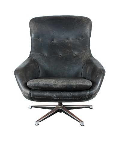 Hameen Kalustaja Swivel Leather Chair, Black/Silver, Brown