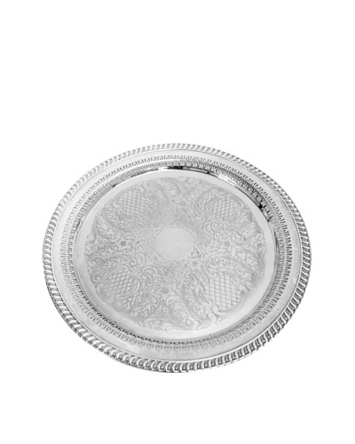 Vintage Ornate Round Serving Tray, c.1950s