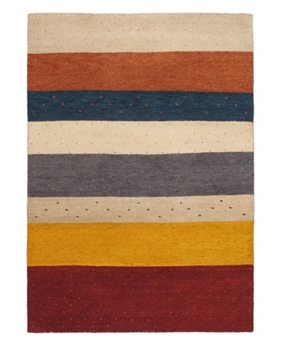 Hand-Knotted Gabbeh Modern Rug, Cream, 5' 8 x 7' 11