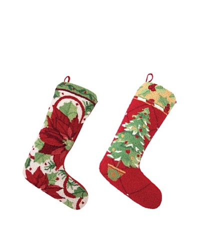 Set of 2 Poinsettia and Tree Stockings
