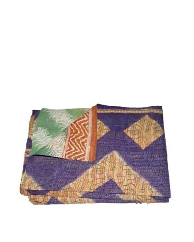 Large Vintage Gowri Kantha Throw, Multi, 60 x 90