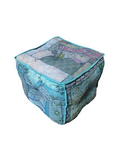 Square Azure Ottoman, Teal
