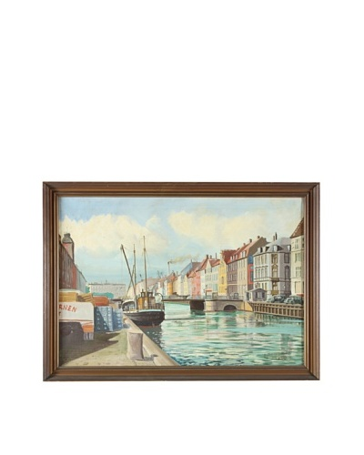 Along The Canal, 1950 Framed Artwork