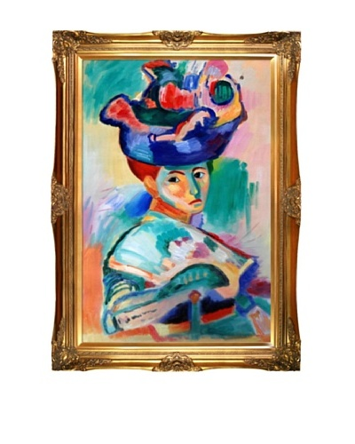 Woman with a Hat Framed Reproduction Oil Painting by Henri Matisse