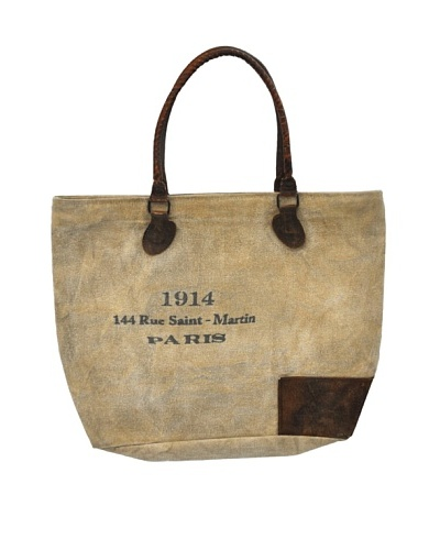 Bridgett Recycled Canvas Tote, Tan/Brown/Blue
