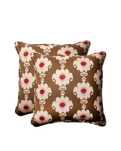 Set of 2 Outdoor Rise and Shine Henna Corded Square Toss Pillows [Red/Brown/Tan]