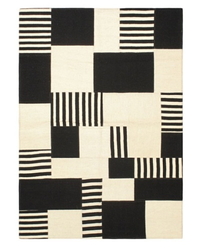 Mosaico Transitional Kilim, Black/Cream, 4' 7 x 6' 5