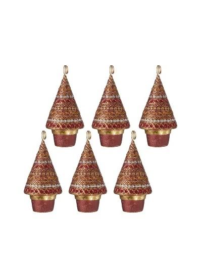 Set of 6 Horizontal Dot Design Cone Tree Placecard Holders