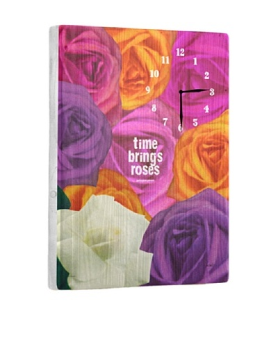 Time Brings Roses Reclaimed Wood Clock