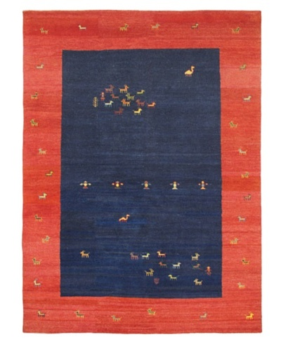 Hand-Knotted Gabbeh Transitional Rug, Dark Navy/Red, 8' 3 x 11' 2