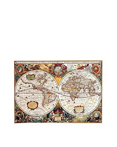 Antique-Inspired Double Hemisphere Map of the World (Hondius, Henricus c. 1630) Canvas Print