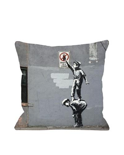 Banksy Graffiti is a Crime Pillow