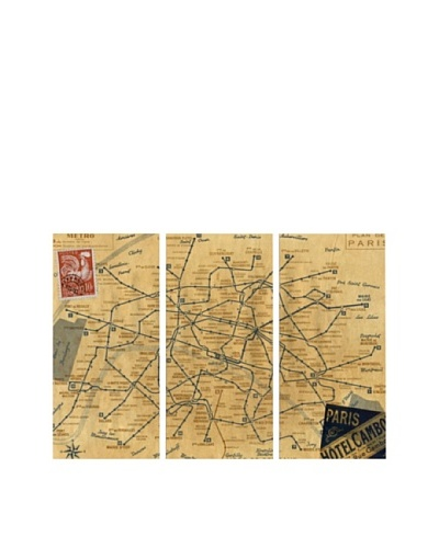 Oliver Gal 1956 Metro Map of Paris Triptych Canvas Art