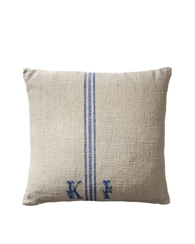 Vintage Hungarian Seed Bag Fabric Pillow, Blue Stripe
