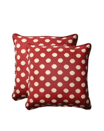 Outdoor Solar Spot Henna Square Corded Toss Pillows [Red/Tan]