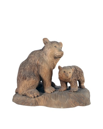 Bear & Cub Carved Sculpture, Brown