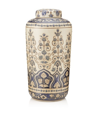 Palmette Ceramic Jar, White/Blue, Tall