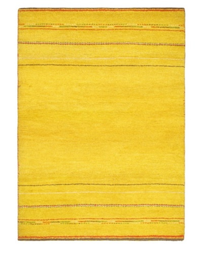 Hand-Knotted Gabbeh Modern Rug, Gold, 4' 1 x 5' 9