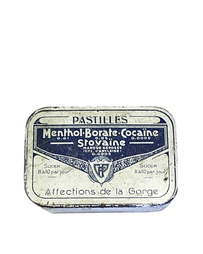 Vintage Pastilles Menthol Borate Cocaine Stovaine Tin, White/Blue