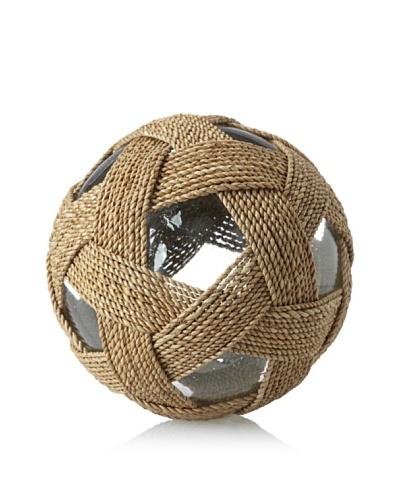 Seaside Lampakanai-Wrapped Glass Ball, Natural/Clear, XLarge