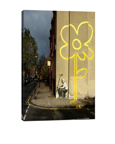Banksy Yellow Lines Flower Painter Canvas Print