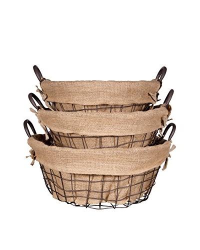 Set of 3 Farmhouse Round School Baskets