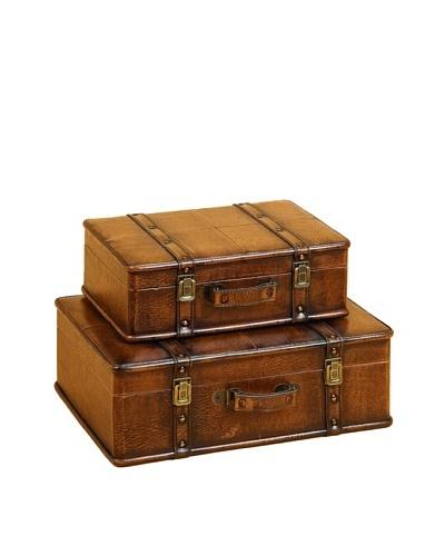 Set of 2 Wood & Leather Suitcase Storage Trunks
