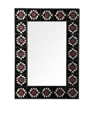 Reverse-Painted Glass Rectangular Mirror, Black