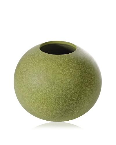 Round Mango Wood Vase, Green