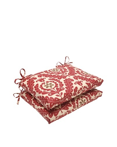 Waverly Sun-n-Shade Set of 2 Meridian Henna Seat Cushion [Red/Brown/Tan]