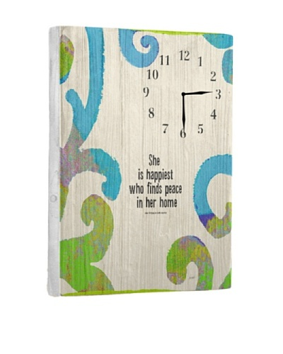 She Is Happiest Reclaimed Wood Clock