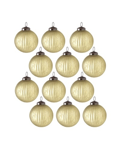 Set of 12 Shiny Glass Ball Ornaments, Olive Green