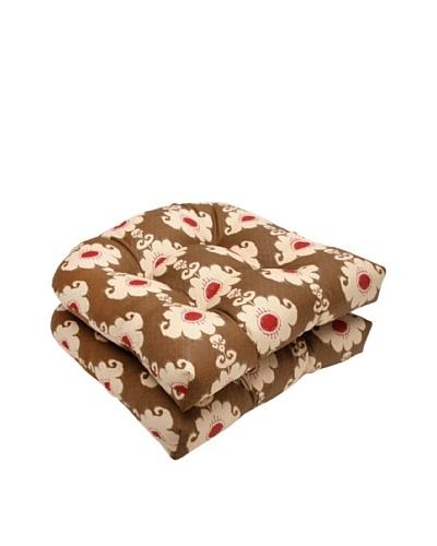 Waverly Sun-n-Shade Set of 2 Rise and Shine Henna Wicker Seat Cushion [Red/Brown/Tan]